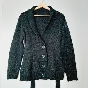 KERSH Green Knit Cardigan Sweater Button Down L